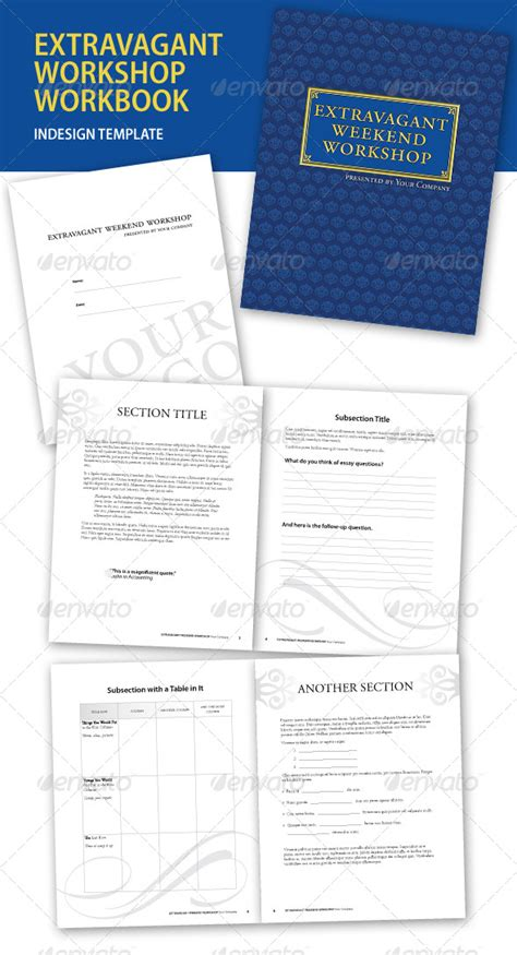 workbook template indesign extravagant workshop indesign workbook graphicriver
