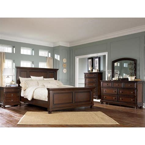 ashley furniture porter rustic brown queen panel bed