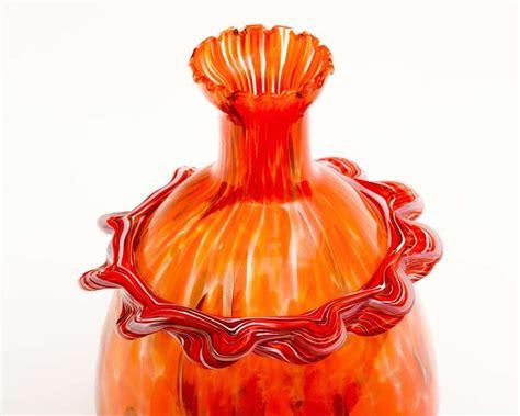 Murano Orange Glass Vase by 1960 S Orange Murano Glass Vase At 1stdibs