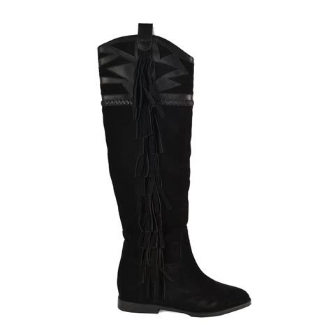 ash jezabel knee high boots black suede leather
