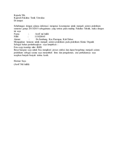 contoh surat lamaran asisten praktikum http