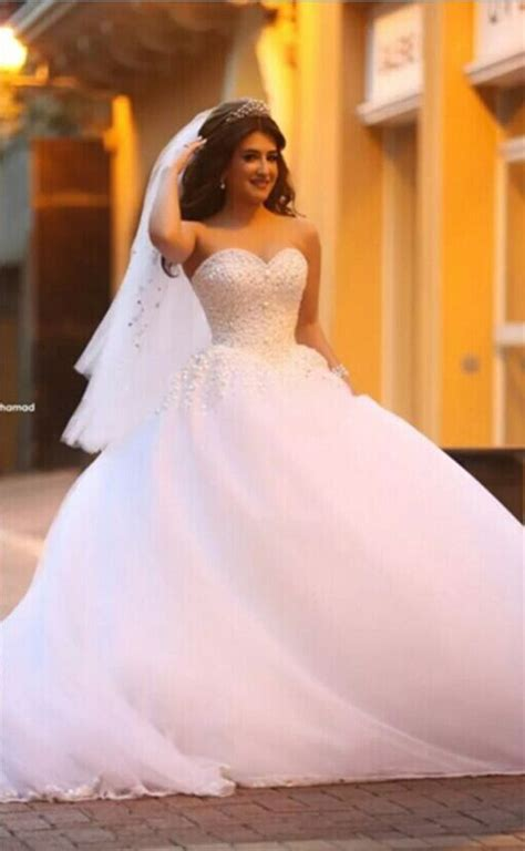 Pure White Sweetheart Princess Ball Gown Wedding Dress Tulle Beading Cute Popular Bridal Dress