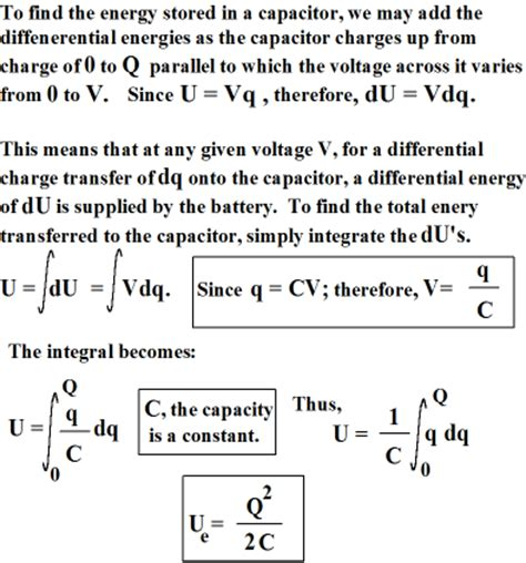 energy stored in capacitor joules chapters 25 and 26