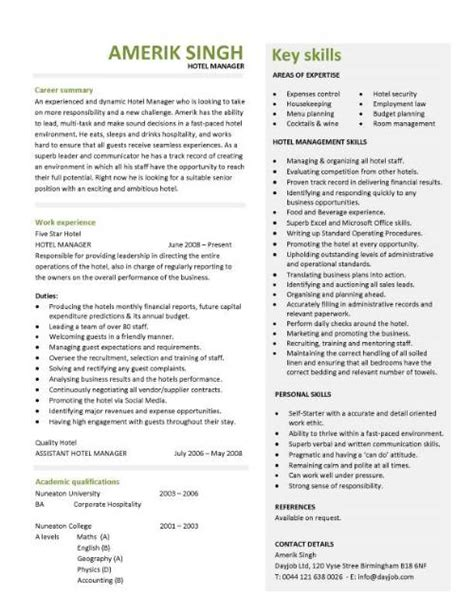 hotel manager resume template hotel manager cv template description cv exle