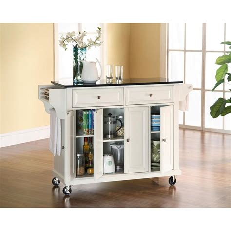 kitchen island cart with granite top crosley white kitchen cart with black granite top