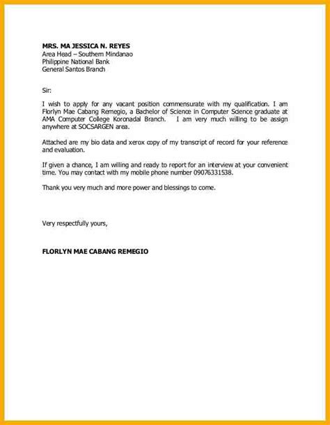 Application letter philippines sample