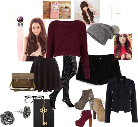 girly winter highschool outfit  edith yung  polyvore