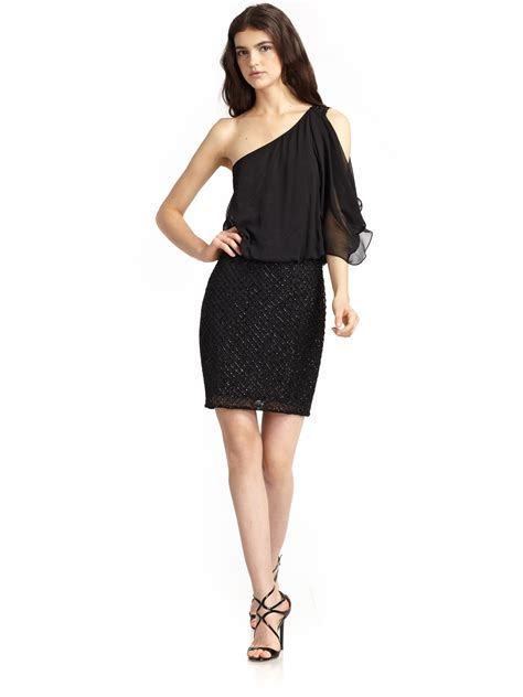 drape dress with one shoulder aidan mattox beaded one shoulder drape dress in black lyst