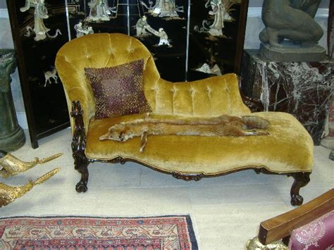 Gold Velvet Chaise Lounge Rococco Period Gold Velvet Chaise Lounge