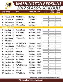 Calendario Washinton 2017 Printable Washington Redskins Schedule