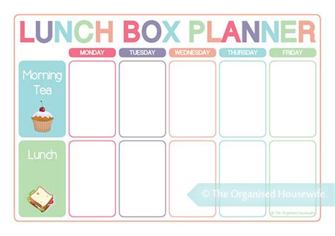 printable lunch meal planner planning food for lunch boxes is just as important as