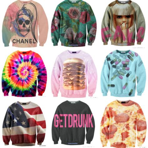 Sweater Cools Roffico Cloth sweater hamburger pills roses food american flag floral usa wheretoget
