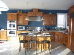 Blue Kitchen With Oak Cabinets by The Choice Of Paint Color Wheel Blue And Green You Are