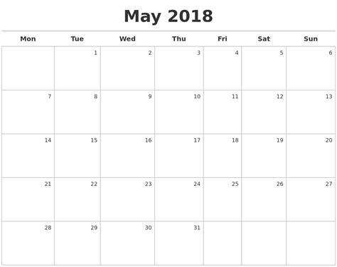 printable calendar creator may calendars 2018 pertamini co