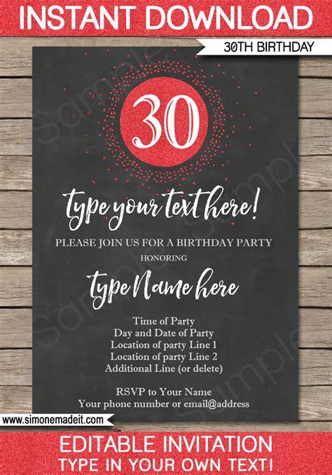 30th birthday invitation template 30th birthday invitations template chalkboard glitter