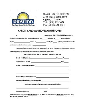 Hotel Credit Card Authorization Template Credit Card Authorization Form Hotel Fill Printable Fillable Blank Pdffiller