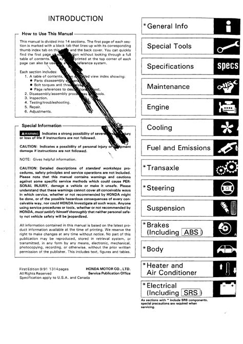 Handleiding Honda Civic 1992 Pagina 1 Van 1258 English