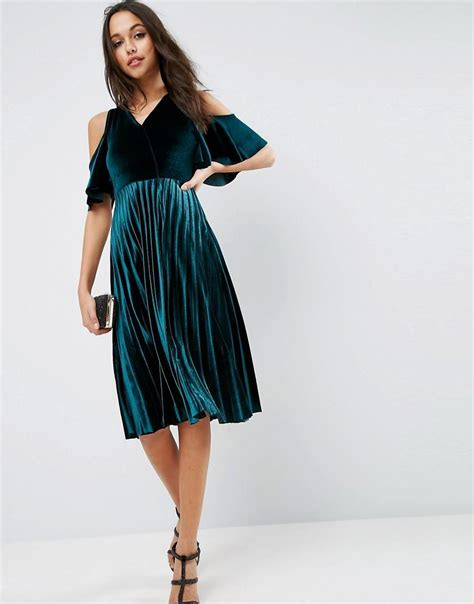Shoulder Pleated Dress lyst asos cold shoulder velvet pleated midi dress in green