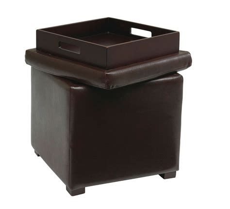Storage Ottoman With Tray Avenue Six Detour Storage Cube Ottoman With Tray Espresso Bonded Leather Dtr817 Ebd