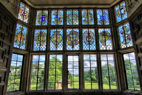glass window house file stained glass window overlooking gardens of montacute house 4675709559 jpg