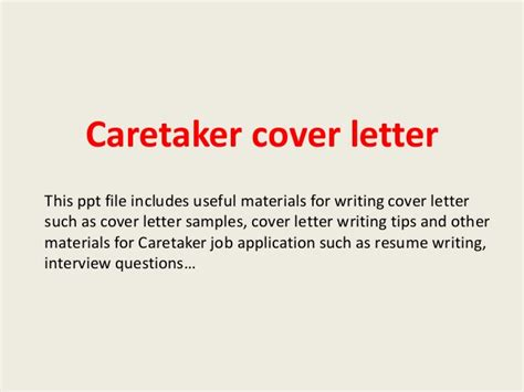 Animal Caretaker Cover Letter by Caretaker Cover Letter