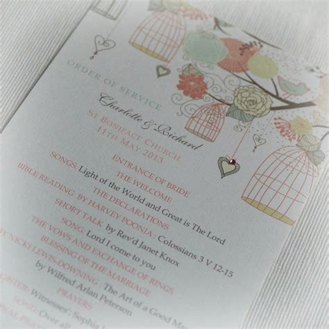 Wedding Service by Order Of Service Birdcage Design By Beautiful Day