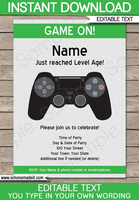 Playstation Party Invitations Template Video Game Party Invite Gaming Invitation Template