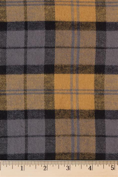 Kemeja Flannel Tartan Black Grey mustard and grey plaid flannel fabric
