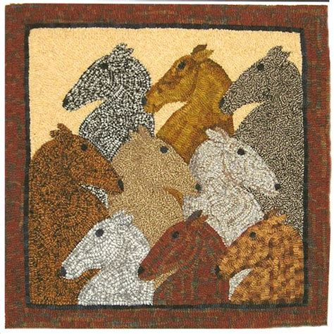 nine primitive rug hooking pattern