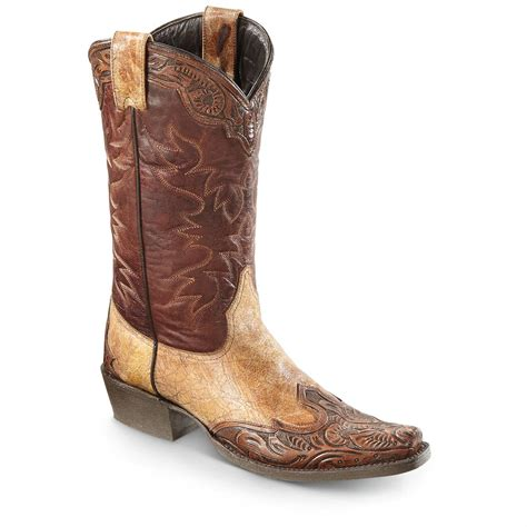 stetson mens cowboy boots stetson s outlaw tooled cowboy boots 663914