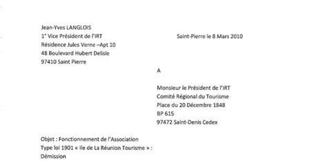 Exemple De Lettre De Demission D Une Association Loi 1901 Modele Lettre De Demission Secretaire Association Document