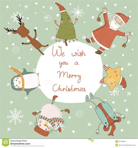 christmas card  cartoon characters stock images image
