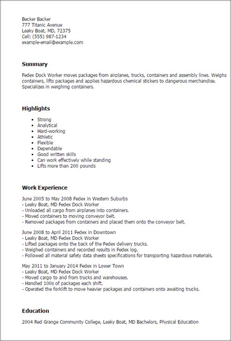 fedex cover letter exle - 28 images - fedex dock worker resume ...