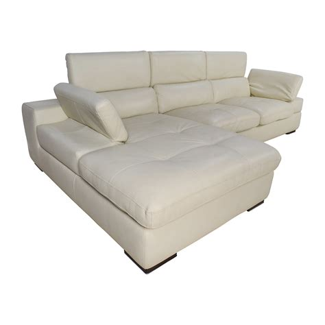 69 Off L Shaped Cream Leather Sectional Sofa Sofas Leather L Shaped Sofa