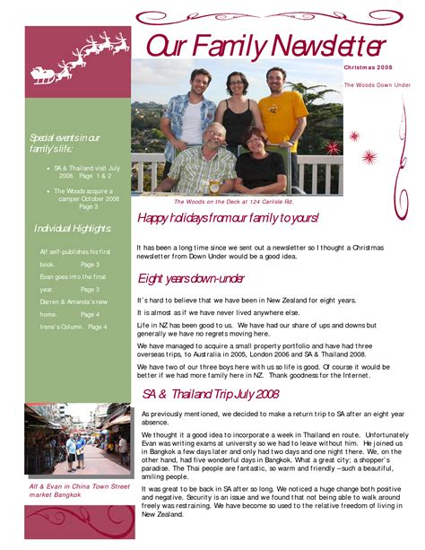 best photos of family newsletter template sles family