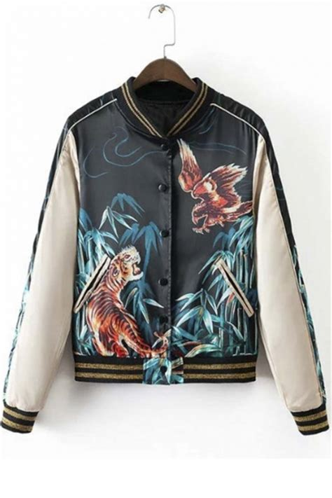 Print Baseball Jacket cool tiger eagle print baseball jacket