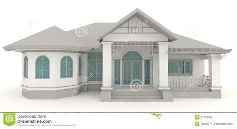 3d retro house architecture exterior design in whi stock