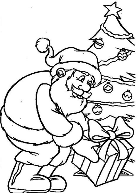 large santa coloring page get a christmas gift from the santa claus coloring pages