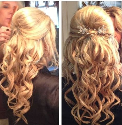 formal hairstyles with curls prom hair half updo curly with volume hair
