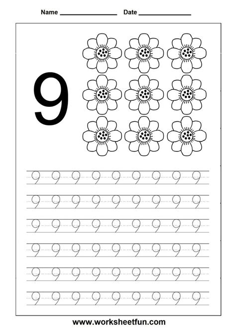 number tracing worksheet 9 homeschooling number