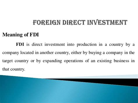 Foreign Direct Investment Mba Notes by Fdi Ppt