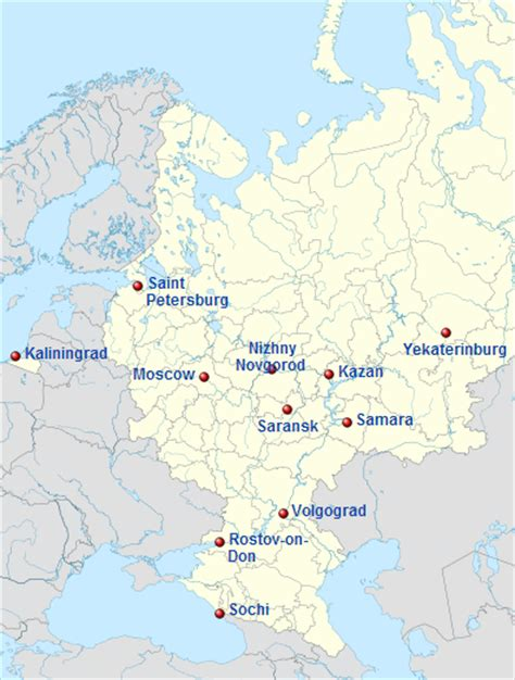 world cup host cities map world cup 2018 facts world football guide