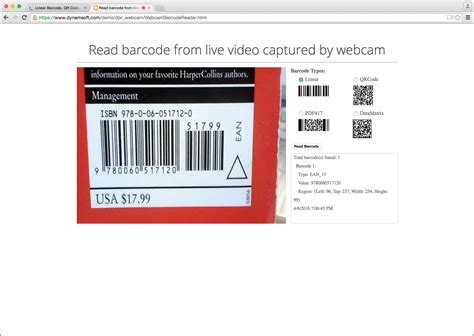 scanning website linear barcode qr code datamatrix and pdf417 api dynamsoft