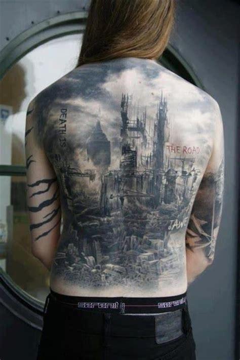 apocalyptic tattoo post apocalyptic landscape back tatts