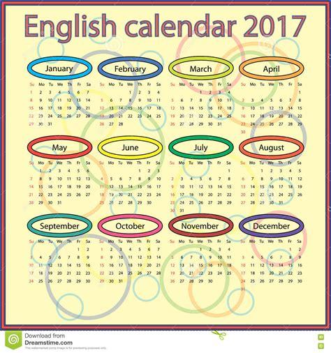Calendario 2017 Ingles Calend 225 Ingl 234 S 2017 Ilustra 231 227 O Do Vetor Imagem 75539107