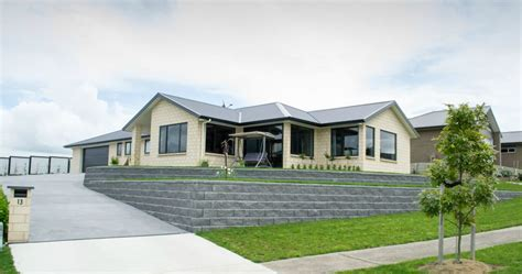 new home on sloping site aj homes builders morrinsville
