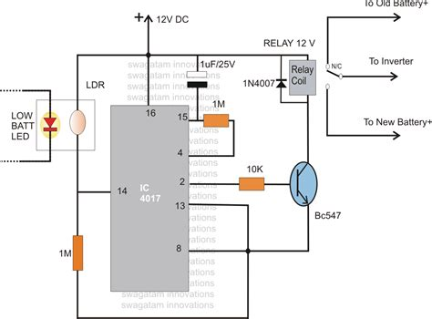 automatic dual battery changeover relay circuit
