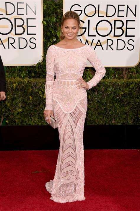chrissy teigen in zuhair murad the 2015 golden globes best dressed sparkles and shoes