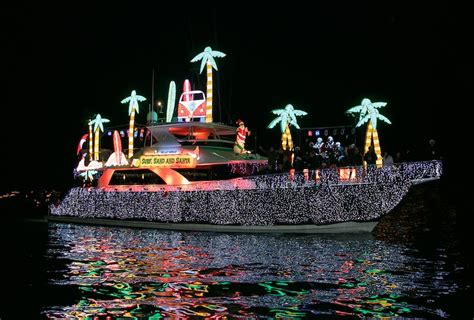 monterey parade of lights boats holiday lights glimmer on waters of newport beach