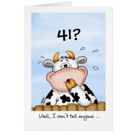 Happy 41st Birthday Wishes 41st Birthday Humorous Card With Surprised Cow Zazzle